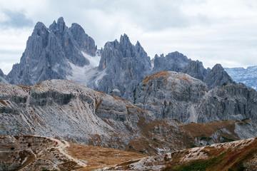Tall towers of Cadini di Misurina in Dolomite Alps