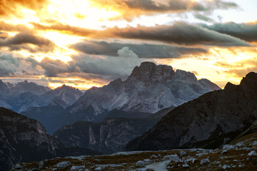 Foto op Canvas Scandinavië Mountains Panorama of the Dolomites at Sunrise with clouds