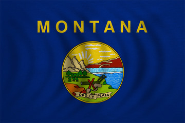 Flag of Montana wavy detailed fabric texture