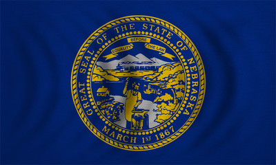 Flag of Nebraska wavy detailed fabric texture