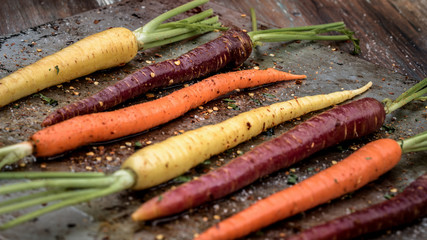 Tri-colored carrots ready for roasting