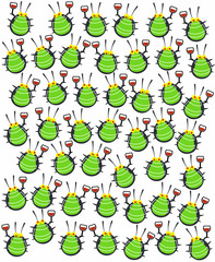 Bugs at Party Celebrating with Wine Glasses