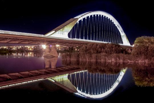 Lusitania bridge over Guadiana River at night