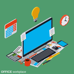 Office computer workplace flat isometric vector concept
