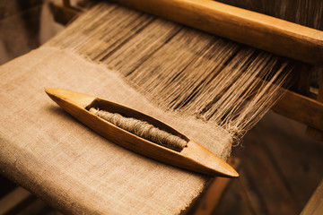 Details handloom flax yarn. Flax fiber