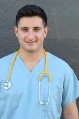 Doctor or nurse looking smiling satisfied