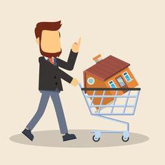 businessman with house of shopping cart