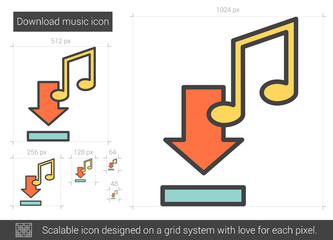 Download music line icon.