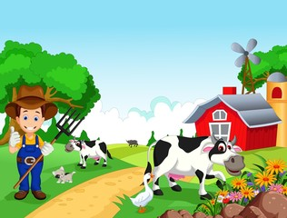 Poster Dogs Farm background with farmer and animals