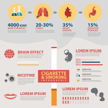 Vector cigarette and smoking infographic concept