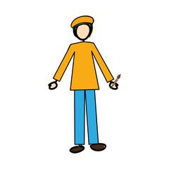 painter cartoon icon image vector illustration design