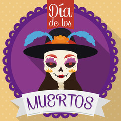 "Button with Catrina for ""Dia de Muertos"" in Flat Style, Vector Illustration"