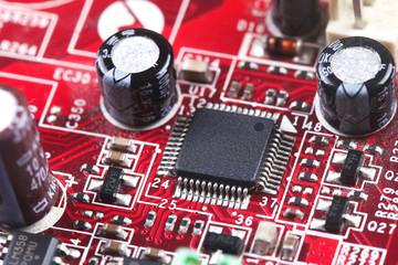 Closeup of electronic components on electronic board