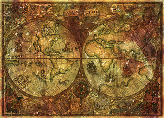 Vintage illustration with ancient world atlas map on old parchment