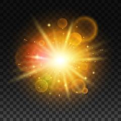 Luminous bright light flash with lens flare