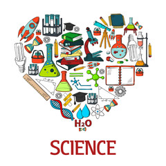 Heart shape emblem with science vector icons
