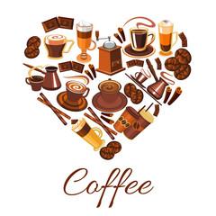 Coffee love label in shape of heart