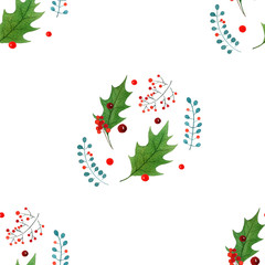 watercolor christmas holly textile print. holiday design isolated on white background.