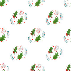 watercolor christmas holly textile pattern. holiday design isolated on white background.