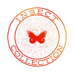 Insect collection orange round label design, isolated vector symbol