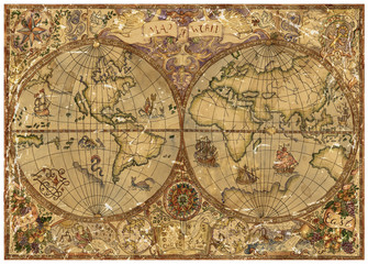 Vintage illustration with world atlas map on old textured parchment