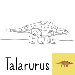 Coloring page for kids with Talarurus dinosaur and colored preview. Vector illustration