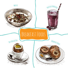 Colorful illustration of breakfast foods.
