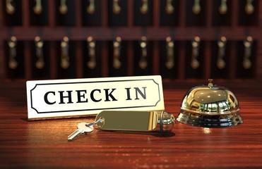 Hotel Check In mit Schlüssel und Glocke
