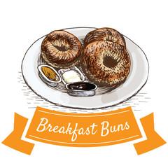 Breakfast buns colorful illustration.