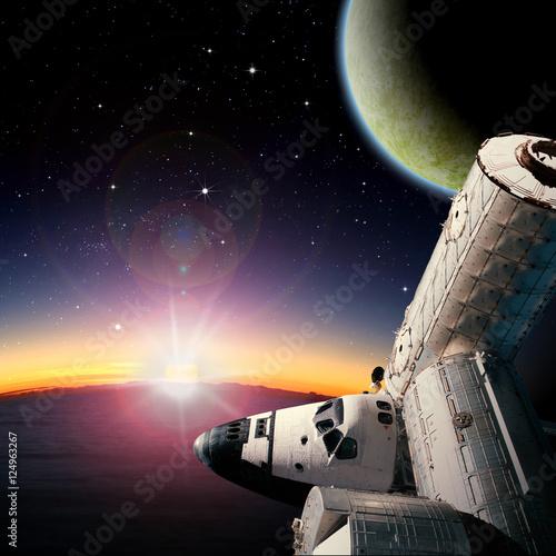 """""""Fantasy scene of Shuttle- Space Station near alien planet ..."""