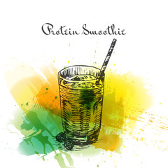 Protein smoothie colorful watercolor effect illustration.