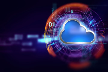Cloud computing system abstract technology background Wall mural
