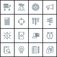 Set Of Project Management Icons On Report, Decision Making And Money Topics. Editable Vector Illustration. Includes Discussion, Plan And Badge Vector Icons.