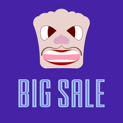 Big sale banner with a picture of a caricature face. Vector illustration.