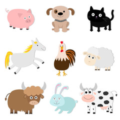 Farm animal set. Pig, cat, cow, dog, rabbit, ship horse, rooster, bull Baby collection. Flat design style. Isolated. White background