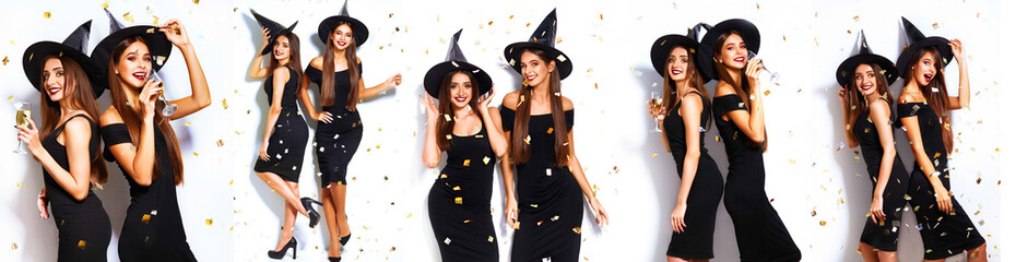 Collage of two happy young women in black witch halloween costumes on party over white background. firecrackers in the background. confetti .the concept of Halloween . funny faces. fashion female
