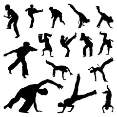 Brazil Capoeira Fighting Dance Martial Art Silhouette Set