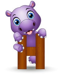 Alphabet H with Hippo cartoon