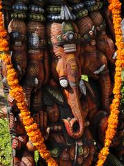 Shrine to Ganesh, the elephant headed god, son of Shiva and Parvati, in Hyderabad, India