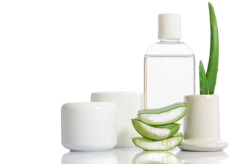 cosmetic set from organic aloe vera isolated on white