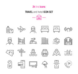 Travel and hotel icon set