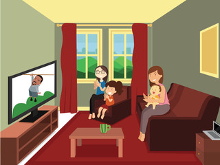 Illustration of Family watching a man hanging on rope in television