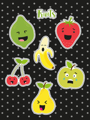 Cute set of fashion patches with cartoon characters of fruits on trendy polka dots background