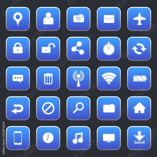 Blue Rounded Square Web or Phone Icon Set
