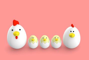 玉子 鶏 家族 3D illustration