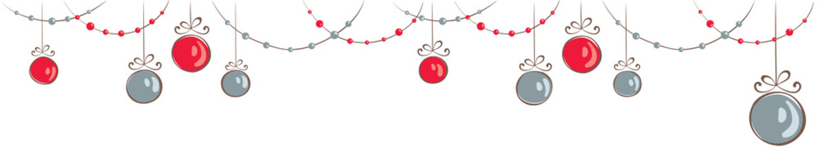 Christmas decorations / Horizontal narrow banner with beads and balls