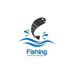 Fish Creative Concept. Fishing Logo Design Template