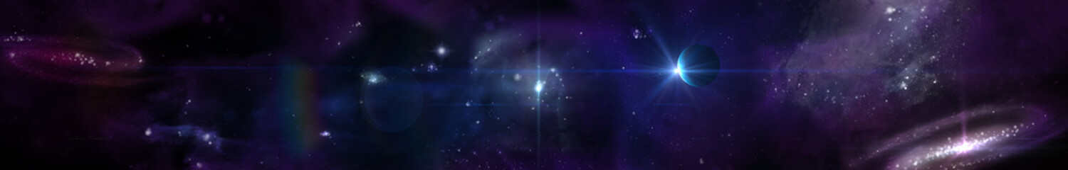 Space panorama landscape. view of the universe. planets and stars.