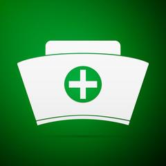 Nurse hat flat icon on green background. Vector Illustration