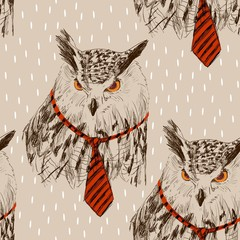 Vector sketch of owl in tie. Seamless pattern